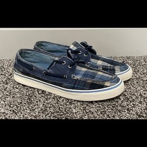 Sperry Top Slider Plaid Boat Blue Shoes Unisex